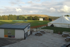 The cricket field and marquee ready for the Disley Show