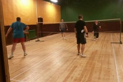 One of the Disley badminton teams in action